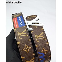 LV hot fashion casual men's and women's belt color print belt White buckle