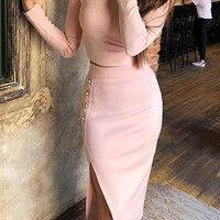 New Pink Buttons Irregular Side Slits Two Piece Long Sleeve Round Neck Elegant Party Midi Dress