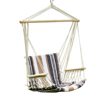 Furnistars Teutonic White Stripe Hammock Chair with Wooden Armrest (17 inch wide):