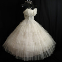 Vintage 1950's 50s Bombshell Strapless White Ivory Tulle Prom Party Wedding Dress Gown