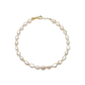 Women's Beaded Choker with Baroque White Pearls