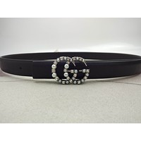Gucci Classic Diamond Pearl Double G Letter Black Ladies Small Leather Belt