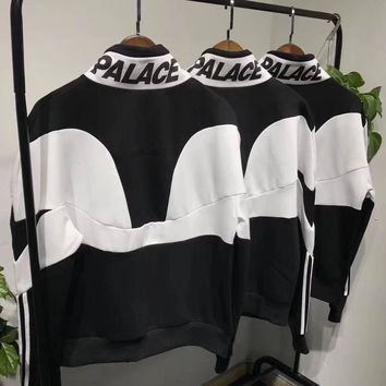 Palace x Adidas Woman Men Fashion Zipper Top Sweater Pullover