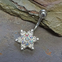 Sparkly Snowflake Belly Button Ring