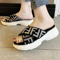FENDI Newest Popular Women Casual F Letter Print Thick Soles Sandal Slipper Shoes Silvery