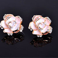 Elegant Diamond Rose Earrings