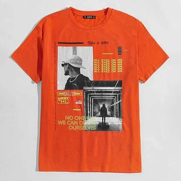 Fashion Men Slogan & Figure Graphic Casual Tee