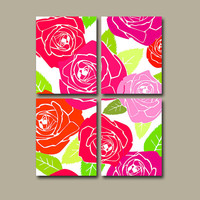 Roses Wall Art Canvas Flowers Rose Hot Pink Lime Green Floral Set of 4 Prints Bathroom Bedroom Decor Shower Curtain Bedding Comforter