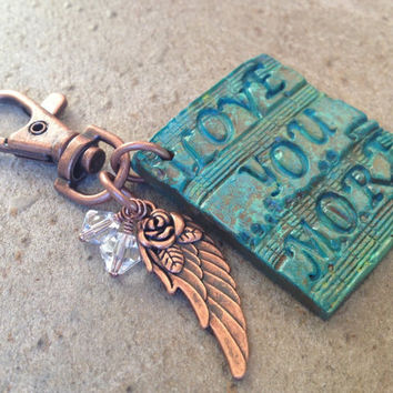 Love You More Swivel Hook Keychain or Bag Charm, Polymer Clay and Angel Wing