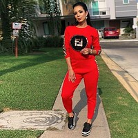F FENDI Trending Women Stylish Long Sleeve Pullover Sweater Pants Two-Piece Red