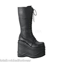 "Wave 302 Black Poly Leatherette Goth Punk Boot 5.75"" Platform Vegan"