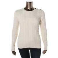 Charter Club Womens Cable Knit Metallic Crewneck Sweater