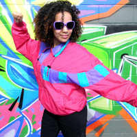 Vintage 80s Windbreaker Jacket, 80's HOT Pink, Purple, and Turquoise Women's Track Suit Top, Hip Hop Party Zip Up Bomber Size Large L