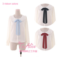 Ice Doll Series Cute Women's 3 Color Ribbon Bow Tie Lolita Blouse Peter Pan Dolly Collar White Shirt Long Sleeve Winter Tops