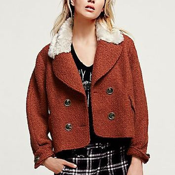 Free People Womens Topped in Fur Peacoat
