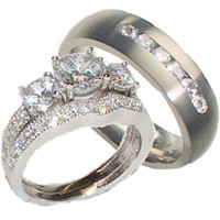 His & Hers 3 pcs Sterling Silver  & Titanium Cubic Zirconia Wedding Ring Set