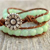 Mint green wrap bracelet. Chunky beaded jade leather wrap. Rustic double wrap bracelet -Made to order-
