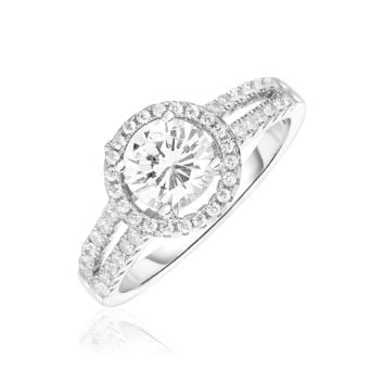 Sterling Silver Round Halo Ring with Cubic Zirconias