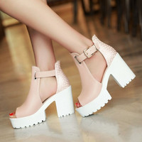 2017 On Promotion Sexy Peep Toe Thick Platform Women Shoes Woman Square High Heels Sandals Brand New Woman Party Shoes