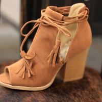 Open Toe Bootie with Laces in Rust