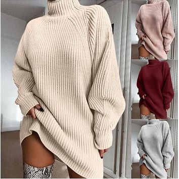 Autumn and winter fashion turtleneck dress  [4258390016097]