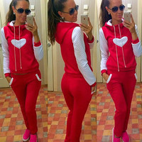 Casual Heart Sweatshirt Hoodie Top Sweatpants Set Two-Piece Sportswear