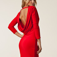 Milly Draped Back Dress, Honor Gold