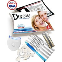 DREOW TEETH WHITENING LED Light KIT, 4 XL Carbamide Peroxide Gel Syringes, Remineralizing Syringe, 3 Mouth Trays. Safe and Fast Results - Whitens Teeth Up To 6 Shades in ONLY 2 Days, Removes Coffee, Wine, Tobacco Stains, Dentist Recommended Product