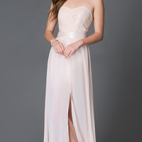 Long Peach Strapless Sweetheart Dress with Embroidered Top