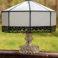 Vintage Stained Glass Lamp Shade, White with Black Metal Filagree Trim
