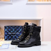 lv louis vuitton trending womens black leather side zip lace up ankle boots shoes high boots 242