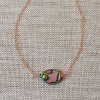NEW Abalone Choker Necklace, Rose Gold Jewelry, Paua Shell, Simple Necklace, Beach Jewelry, Gift for Women, Free Shipping