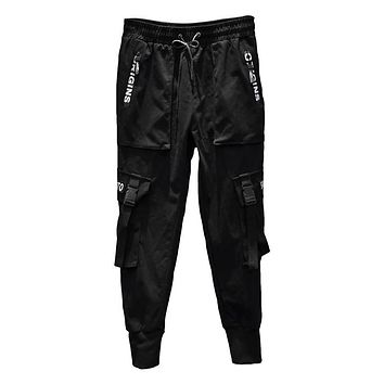 2019 New Fashion Men Harem Pants Hip Hop Buckles Strap Joggers Streetwear Casual Ripped Trousers Cargo Pants ABZ367