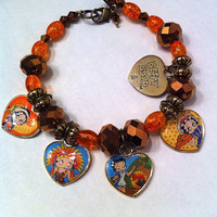 Thanksgiving Betty Boop heart charm bracelet in brown,gold,and orange