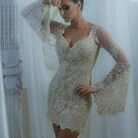 Elegant Long Sleeve Abrove Knee Mini Sexy V Neck Lace Mermaid Cocktail Dresses 2016 Robe De Cocktail Party Dresses