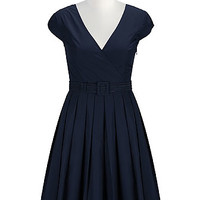 Belted fit-and-flare poplin dress