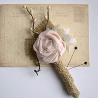 Mens Wedding Boutonniere, Burlap Boutonniere, Rustic Boutonniere, Blush Pink, Gray Grey, Spring Wedding, Vintage Inspired, Garden