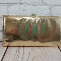 Vintage Gold Lame Wallet Clutch
