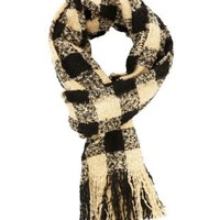 Ivory Combo Fuzzy Checked Fringe Scarf by Charlotte Russe