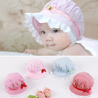 Fashion Winter Warm 3-24 Months Cute Toddlers Striped Stripe Photography Props Baby Girls Lace Flowern Sun Hat Cap Cotton Hat