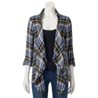 About A Girl Plaid Open-Front Cardigan - Juniors, Size: