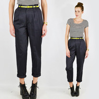 vtg 80s 90s grunge revival preppy GREY high waist waisted SKINNY leg fit crop cuff PLEATED trouser dress pants 26 S