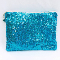 Teal Sequin Clutch/Makeup/Toiletries Bag Glittery Sparkly Metallic Turquoise Sequins With Beige Zipper & Optional Color Bead Zipper Pull