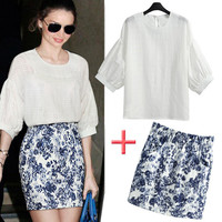 White Puff Sleeve Back Keyhole Blouse and Blue Floral Print Mini Skirt