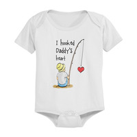 I Hooked Daddy's Heart Baby Onesuit
