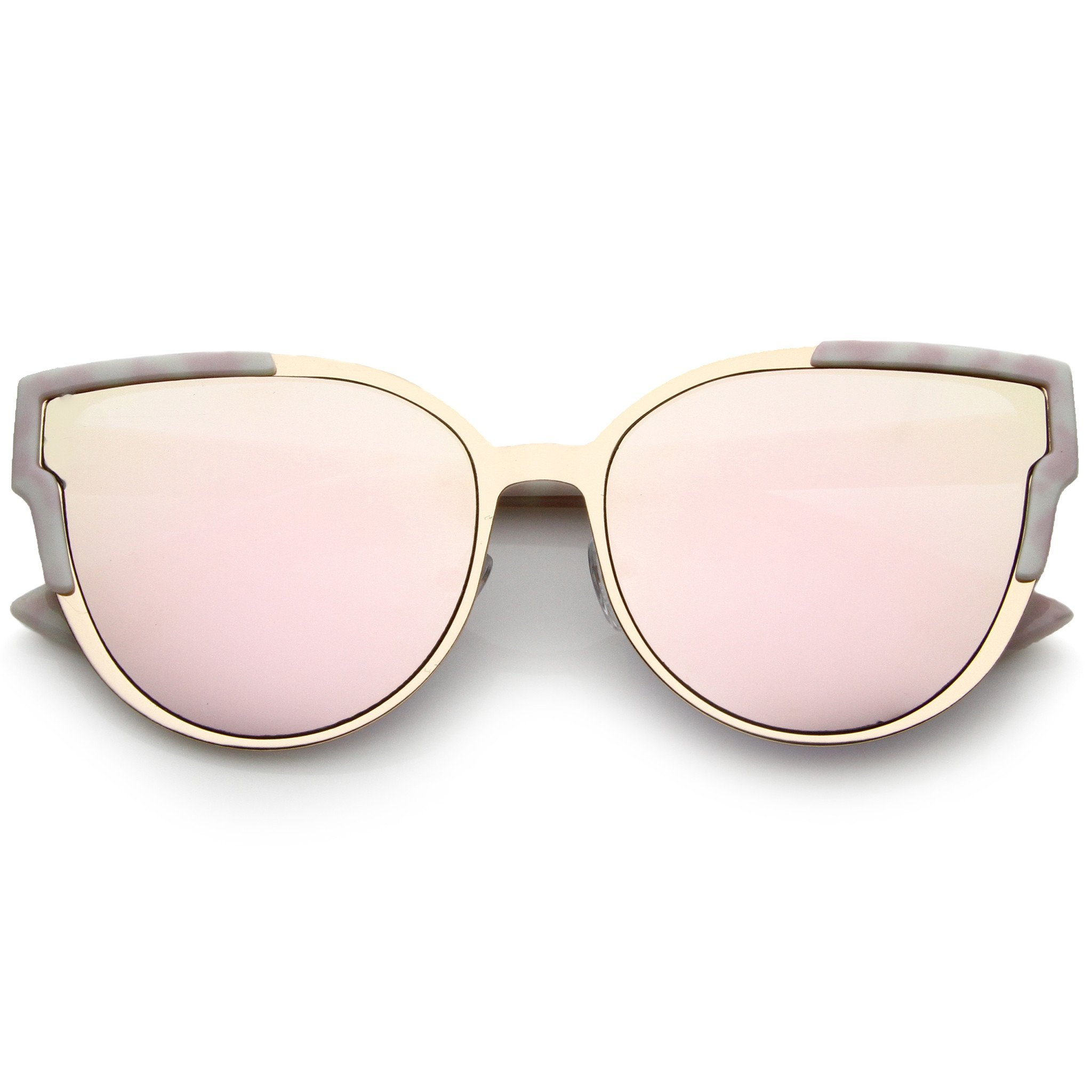 Image of Women's Infinity Mirrored Flat Lens Marble Print Sunglasses A821