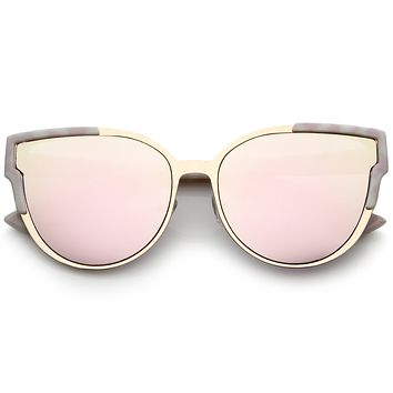 Women's Infinity Mirrored Flat Lens Marble Print Sunglasses A821