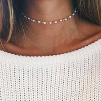 Opal Stone Beads Chokers Necklaces for Women Jewelry Gold Color Chain Necklace Party Gift 171129