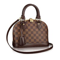 Tagre™ LV Women Shopping Leather Tote Handbag Shoulder Bag Authentic Louis Vuitton Damier Alm