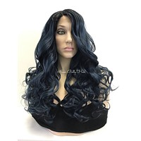 Blue Curly' Human Hair Blend Multi Parting Lace Front Wig - Crayola